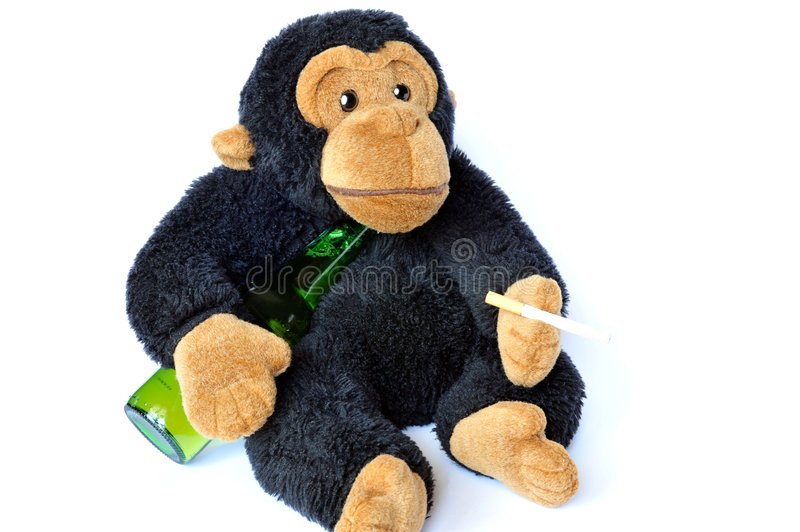 Monkey with cigarette stock photo