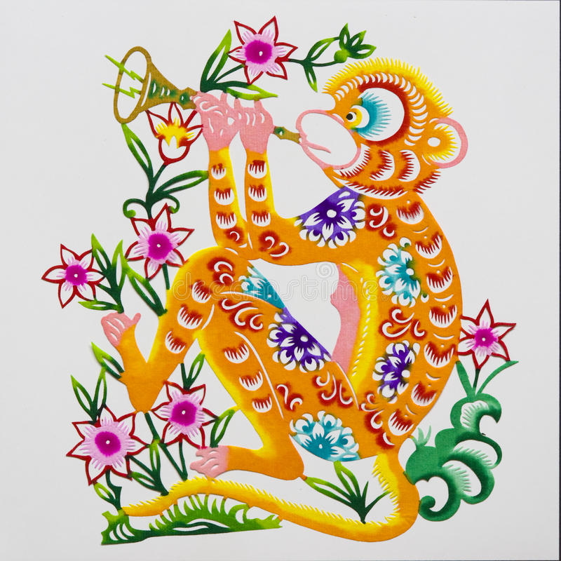 Free Monkey, Color Paper Cutting. Chinese Zodiac. Royalty Free Stock Photos - 10991818
