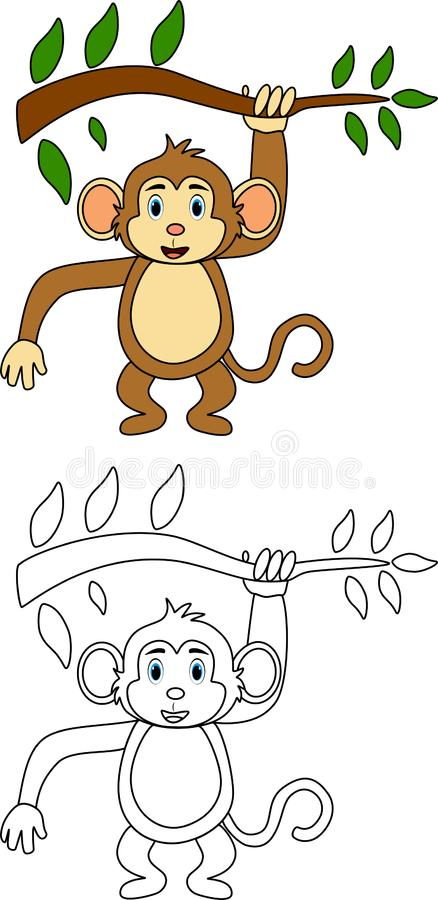 Monkey for coloring book royalty free illustration