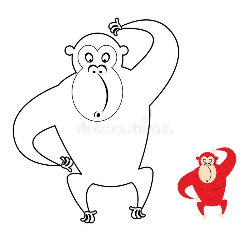 Monkey Coloring Book. Red Monkey Makes Surprise Muzzle. Funny Pr ...