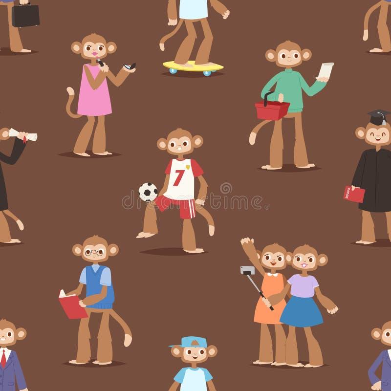 Monkey como a ilustração sem emenda engraçada do vetor do fundo do teste padrão do macaco animal dos personagens de banda desenha ilustração do vetor