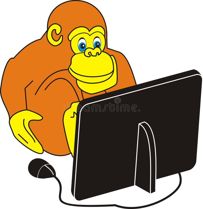 Download Monkey and the computer stock vector. Illustration of joke - 10867820