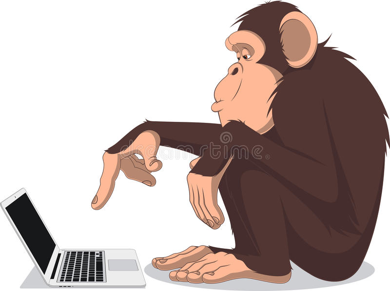 Monkey and computer. Vector illustration, Clever monkey at a computer royalty free illustration