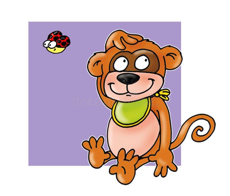 Monkey con comico divertente del fondo porpora della coccinella e del bavaglio illustrazione di stock