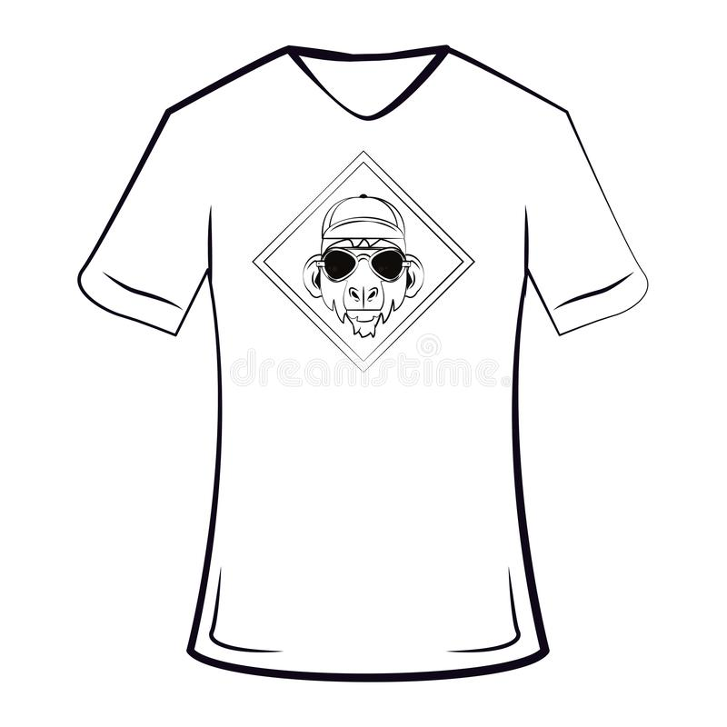 Monkey cool sketch on tshirt. Monkey hipster cool sketch on tshirt in black and white vector illustration graphic design stock illustration