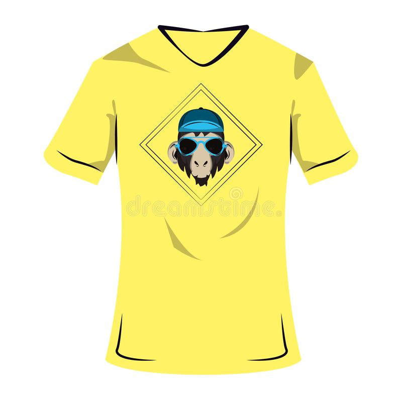 Monkey cool sketch on tshirt. Monkey hipster cool sketch on tshirt vector illustration graphic design vector illustration