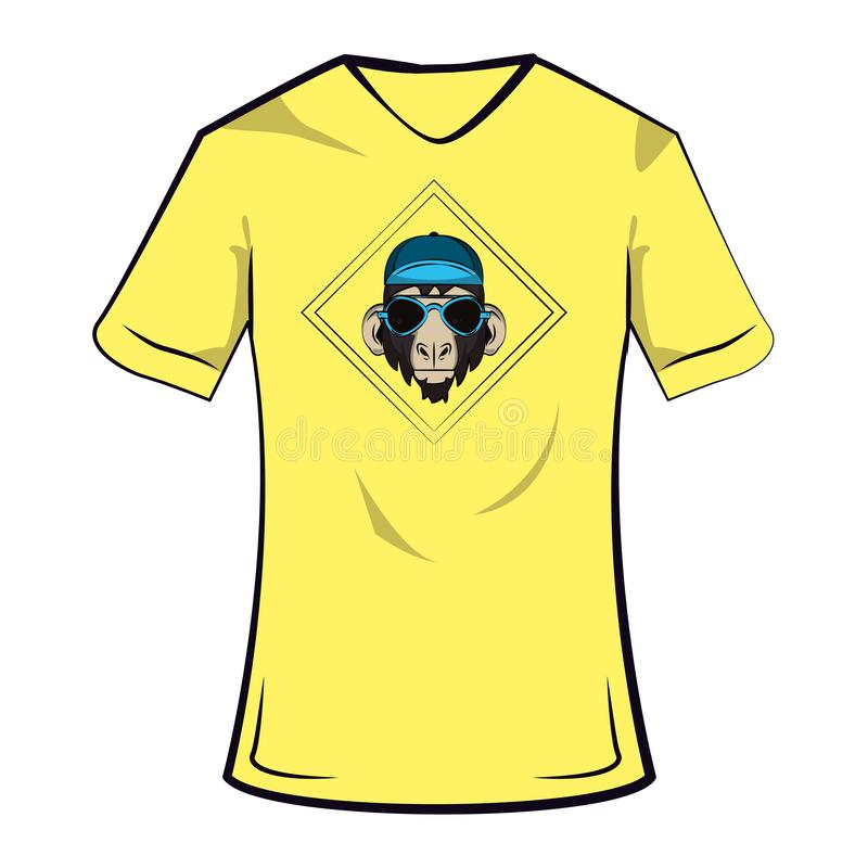 Monkey cool sketch on tshirt. Monkey hipster cool sketch on tshirt vector illustration graphic design royalty free illustration