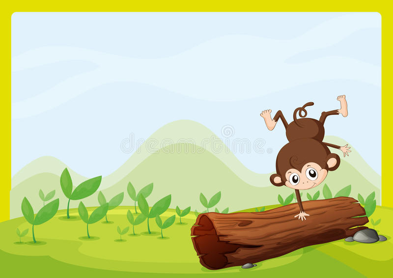 A monkey dancing on a dry trunk. Illustration of a monkey dancing on a dry trunk in a beautiful nature vector illustration