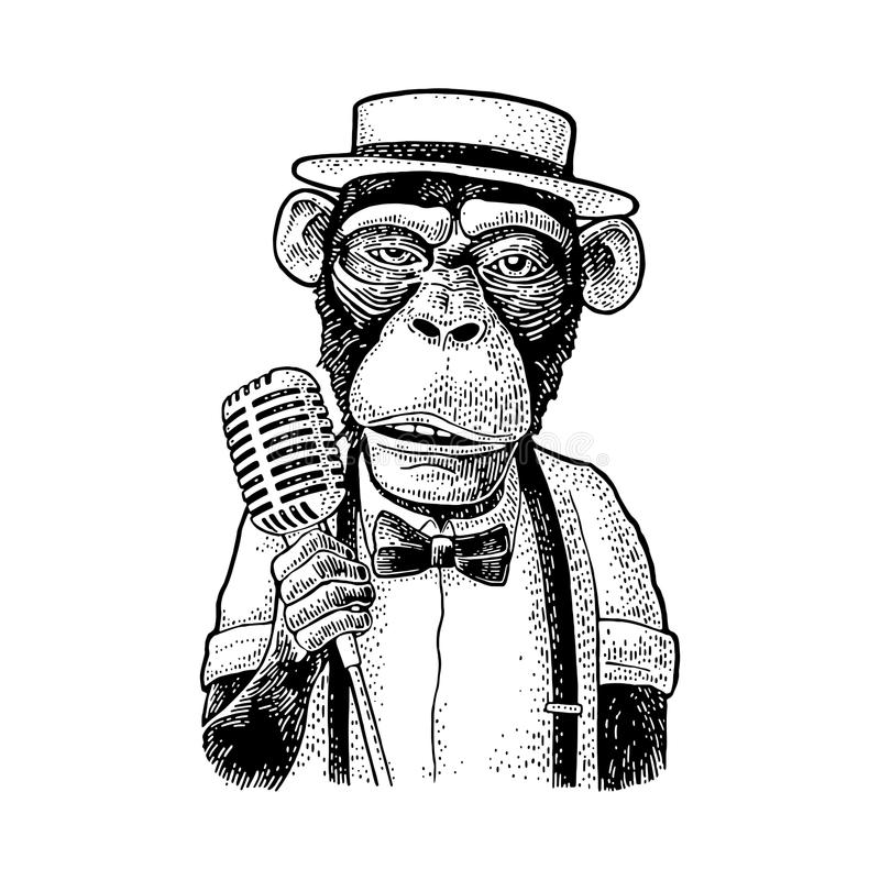 Monkey dressed hat, shirt, bow tie holding microphone. Engraving stock illustration