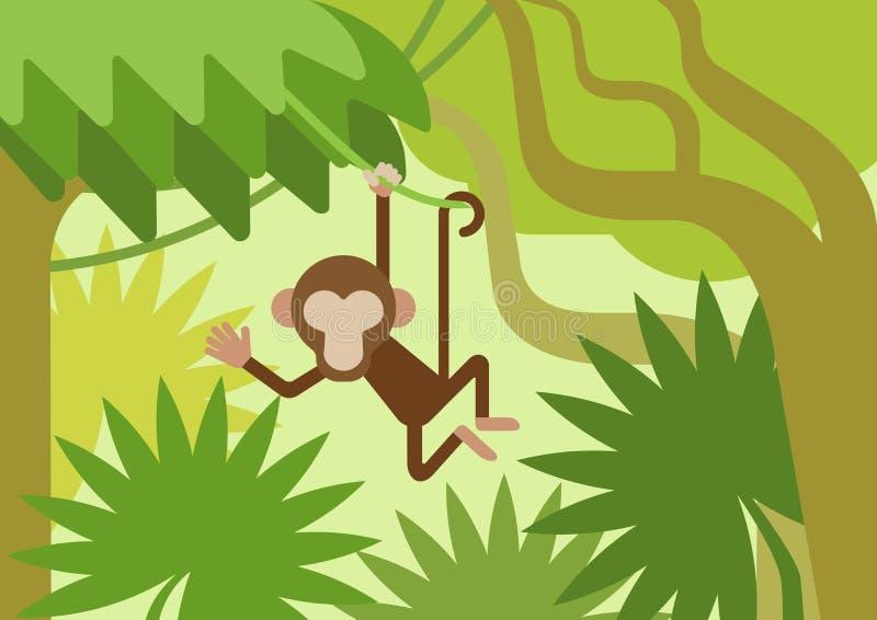 Monkey el animal plano del vector de la historieta de la selva de la rama de árbol del escalador libre illustration