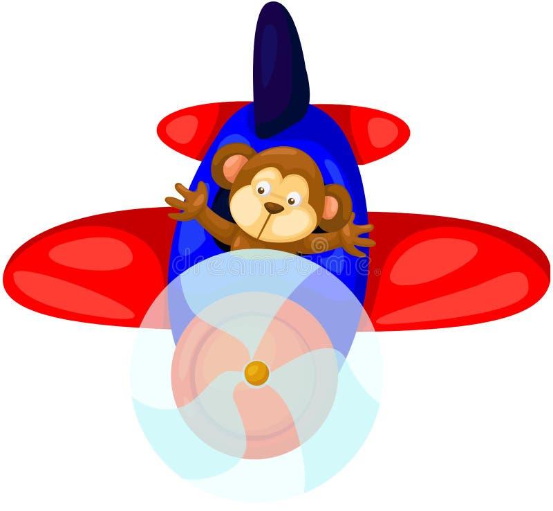 Monkey flying airplane. Illustration of isolated cartoon monkey flying airplane royalty free illustration