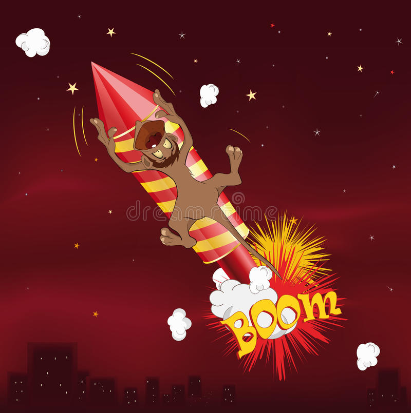 Download Monkey flying on fireworks stock image. Image of decoration - 16951353