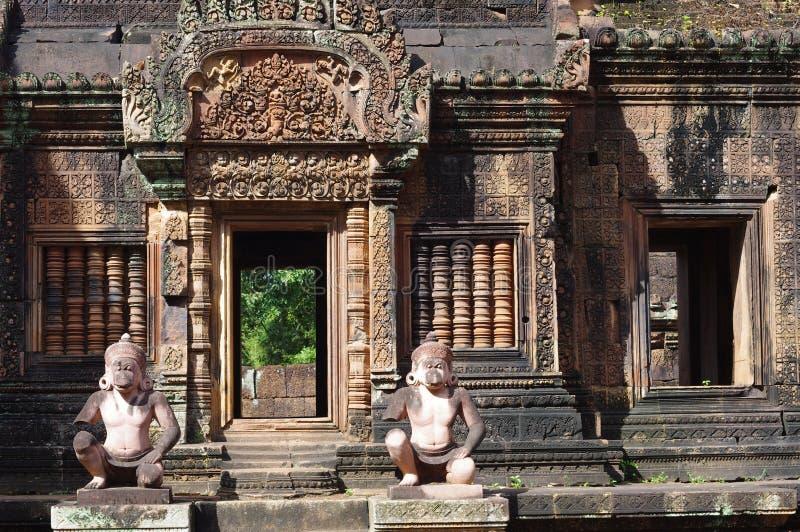 Monkey god guards at Banteay Srei royalty free stock photos