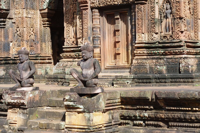 Monkey god guards at Banteay Srei stock image