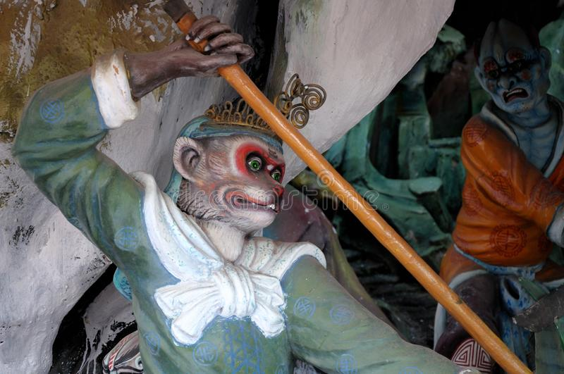 The monkey god statue at Haw Par Villa in Singapore stock photography