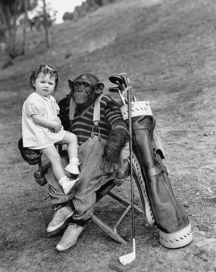 Monkey with golf clubs and toddler girl royalty free stock image