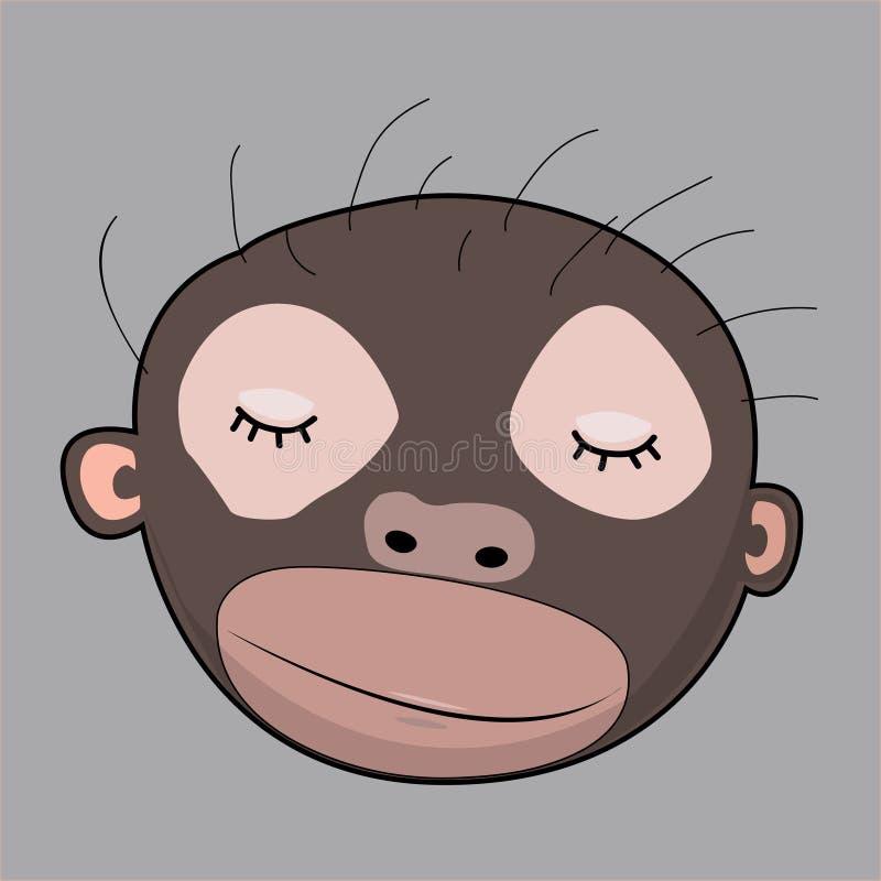 Monkey gráficos bonitos dos personagens de banda desenhada bonitos dos gráficos do t-shirt para ilustrações de livro das crianças ilustração do vetor
