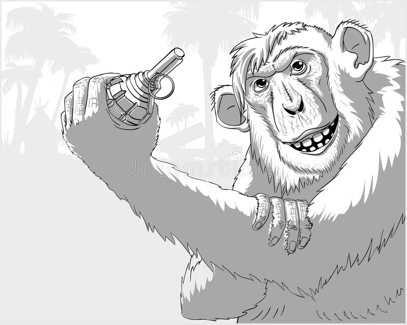 A monkey with a grenade royalty free stock photos