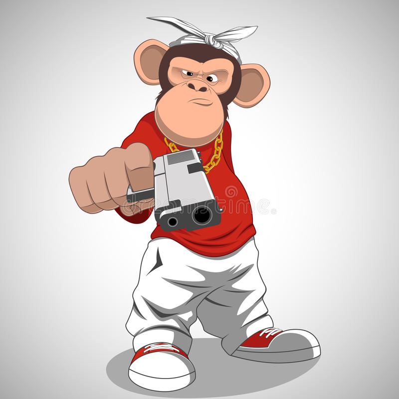 Monkey with a gun. Vector illustration, funny monkey with a gun stock illustration