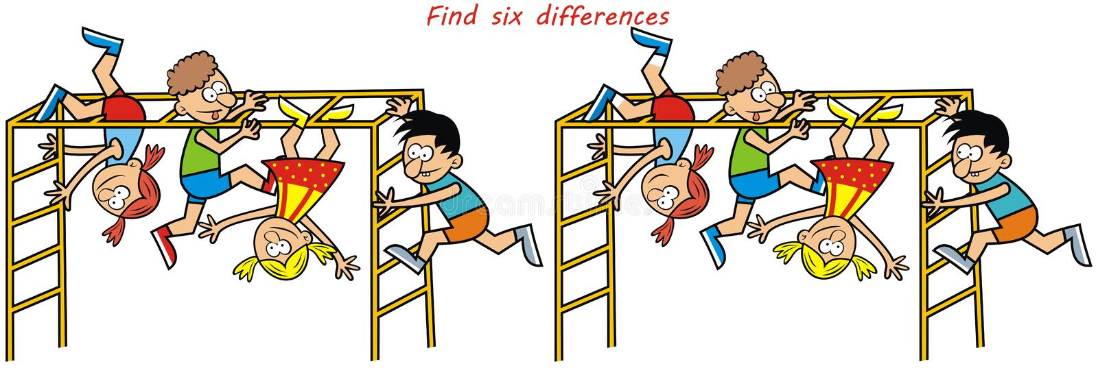 Monkey gym, game, find six differences vector illustration