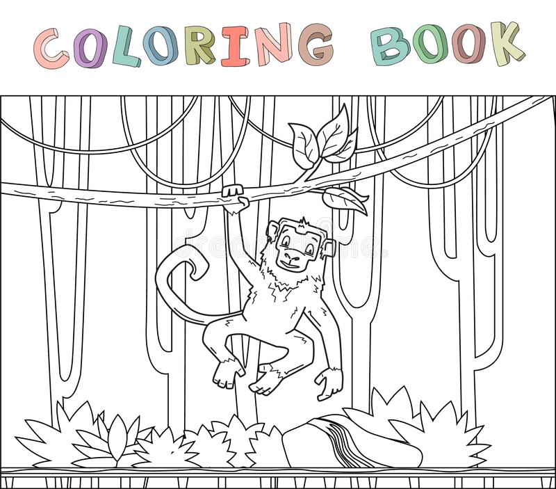 Monkey hanging on a jungle vine in rainforest. Jungle animal character. Contour vector illustration for coloring book stock illustration