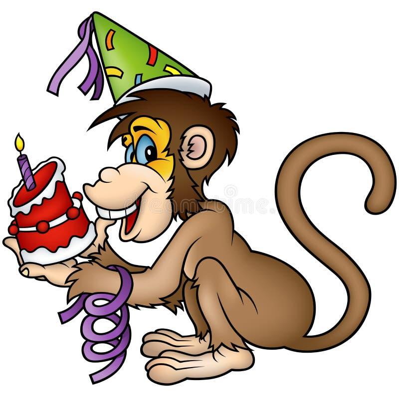 Monkey Happy Birthday stock illustration