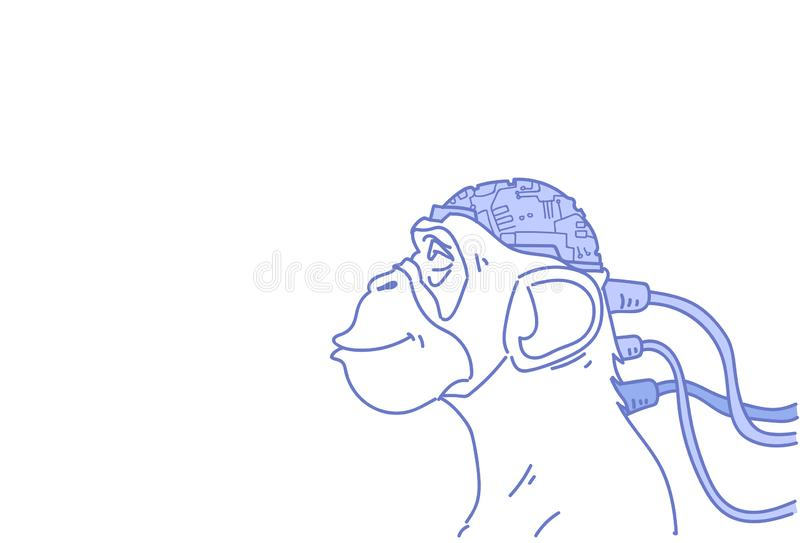Monkey head connected modern cyborg brain artificial intelligence concept sketch doodle horizontal stock illustration