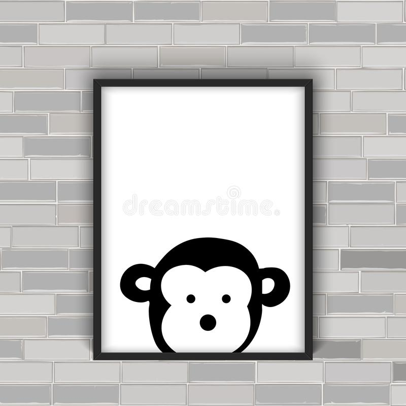 Monkey head in the frame. Black and white royalty free illustration
