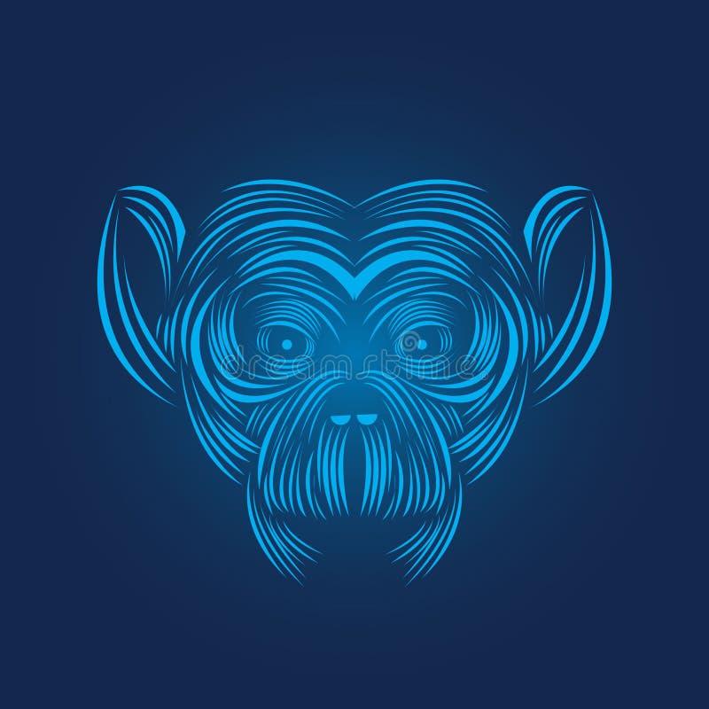 Monkey head icon line art vector illustration. Wild animal pictogram , line art royalty free illustration