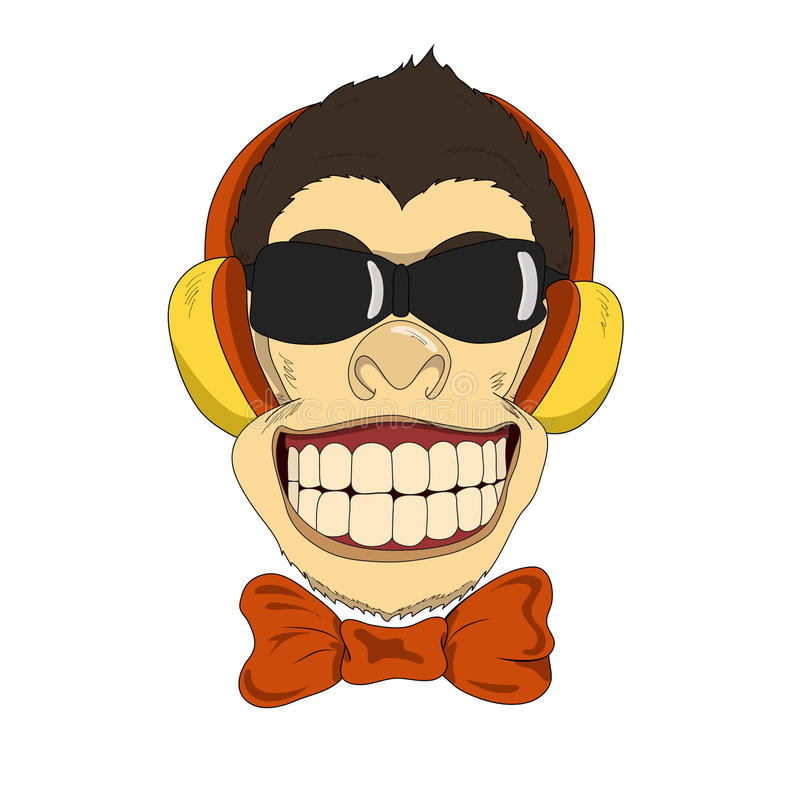 Monkey_headphones arkivbilder