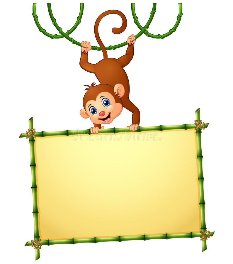 Monkey with holding bamboo frame vector illustration
