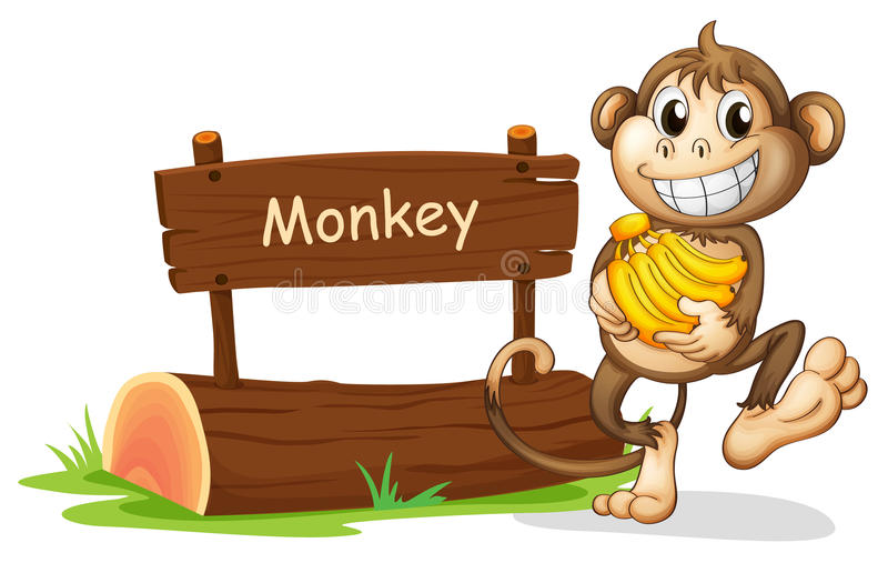 A monkey holding bananas. Illustration of a monkey holding bananas on a white background vector illustration