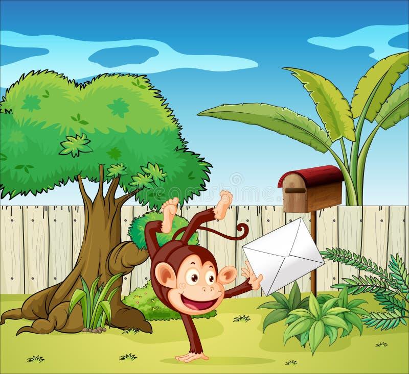 A monkey holding an envelope vector illustration