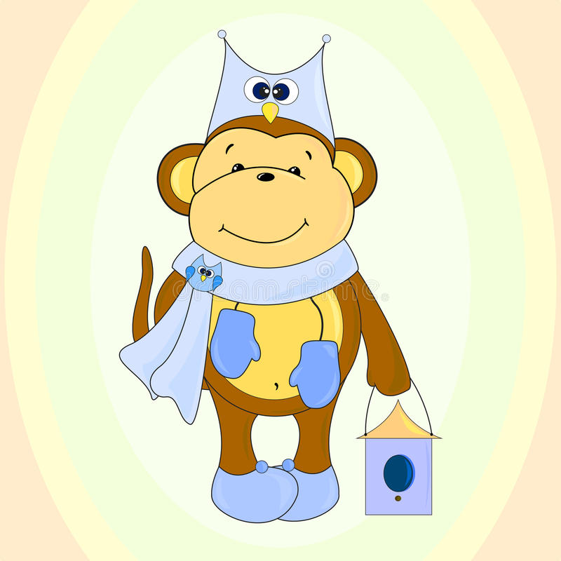 Monkey illustration. The main symbol of this vector illustration is monkey. It's dressed in hat with image of owl, scarf with owl-brooch and boots. Image belongs vector illustration