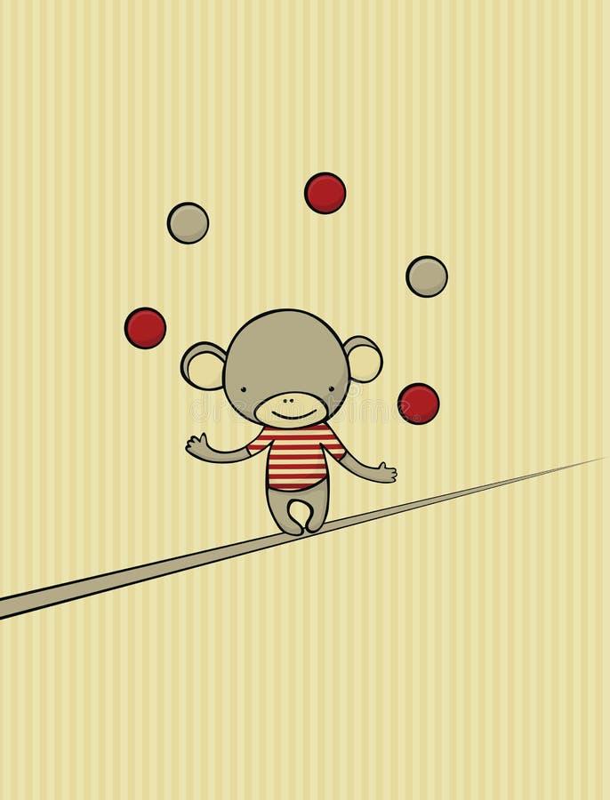 Monkey juggling royalty free illustration
