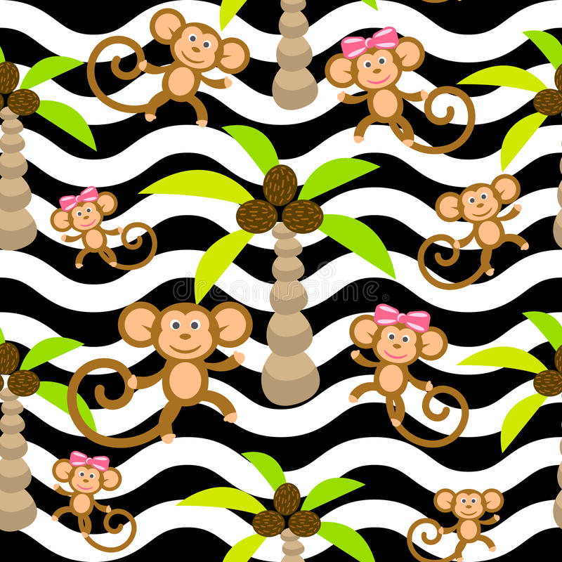 Monkey kid seamless vector pattern for textile print. stock illustration