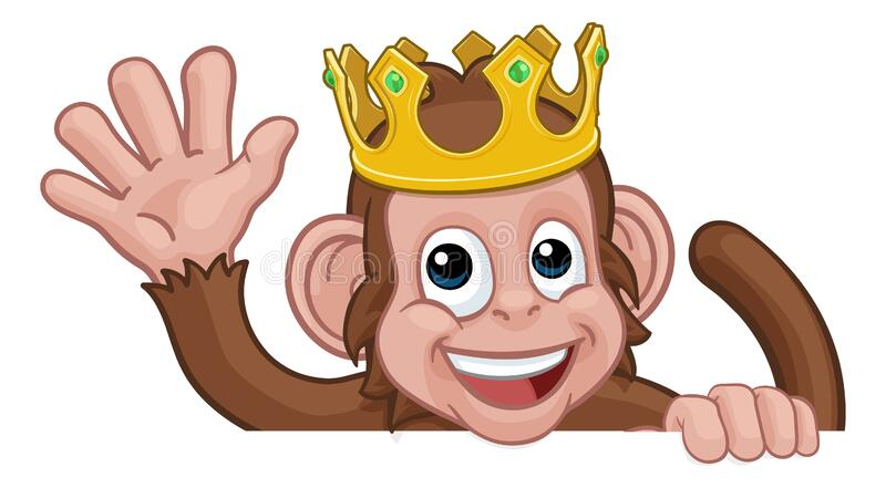 Monkey King Crown Cartoon Animal Sign Waving stock images