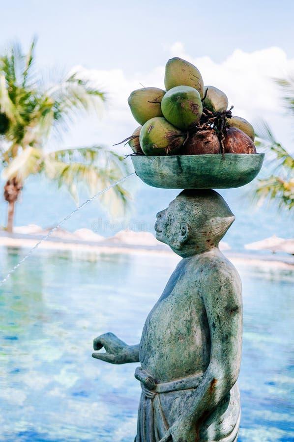 Monkey la escultura de piedra llevada de los cocos por la piscina en Samu imagen de archivo libre de regalías