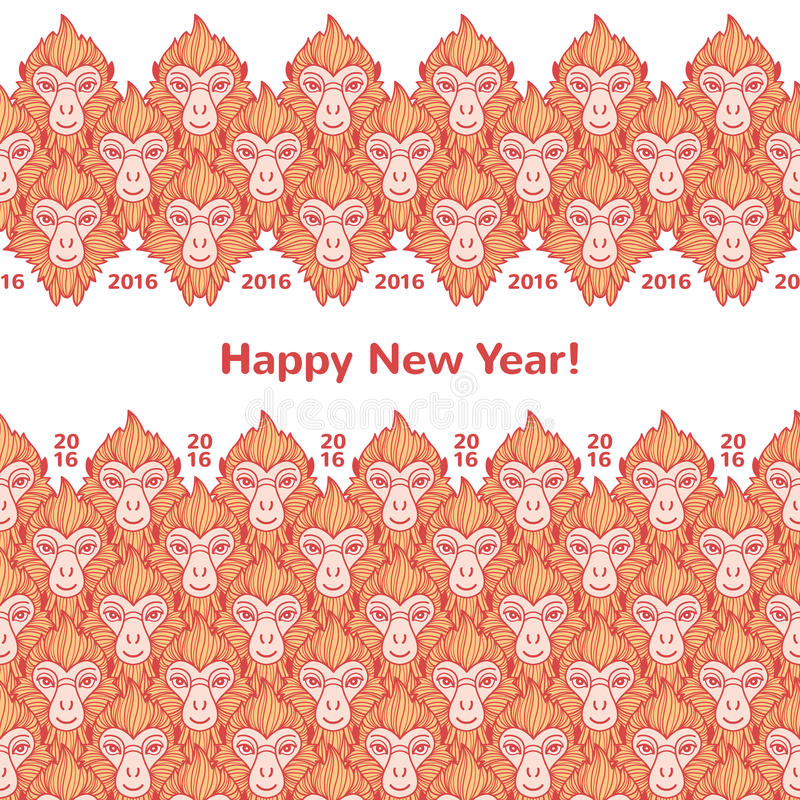 Monkey las fronteras horizontales del Año Nuevo de las cabezas con saludos ilustración del vector