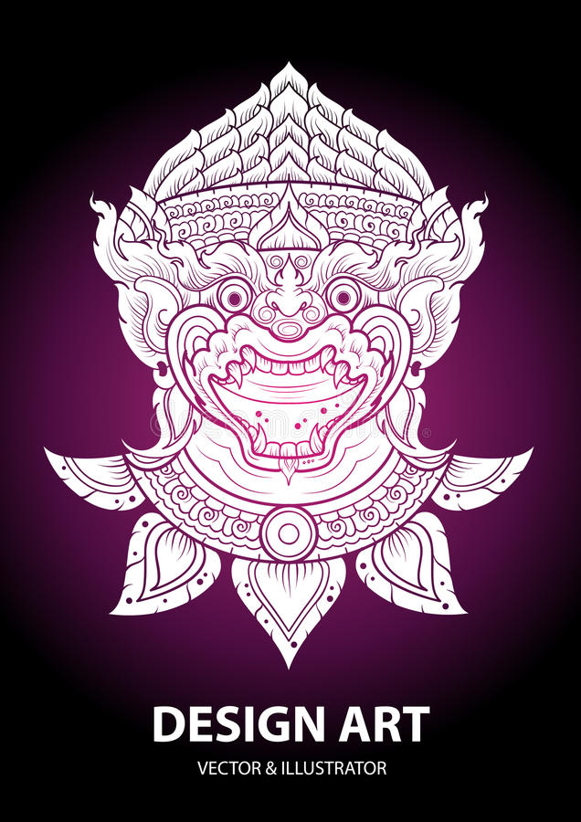 Monkey layout thai outline vector vector illustration