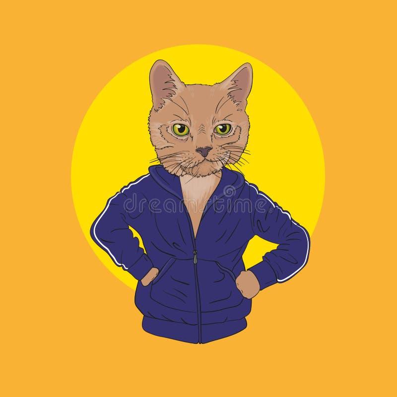 Monkey le hoodie de port de l'adolescence avec la copie, illustration velue d'art, images stock