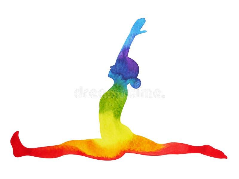 Monkey le yoga de pose, peinture d'aquarelle de chakra de 7 couleurs, tirée par la main illustration libre de droits