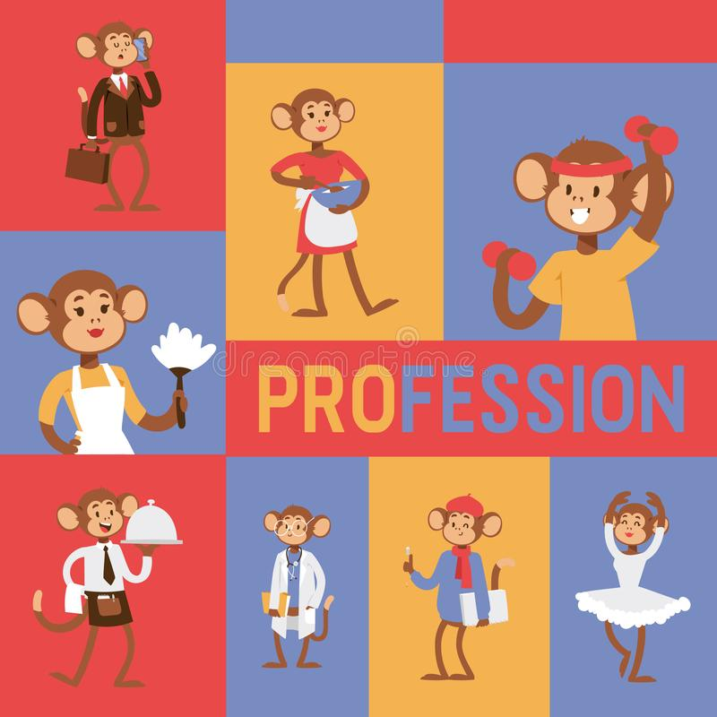Monkey like people profession character vector illustration. Wild cartoon animal recruiter application landing page vector illustration