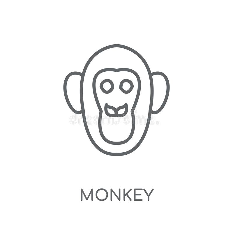 Monkey linear icon. Modern outline Monkey logo concept on white. Background from animals collection. Suitable for use on web apps, mobile apps and print media vector illustration
