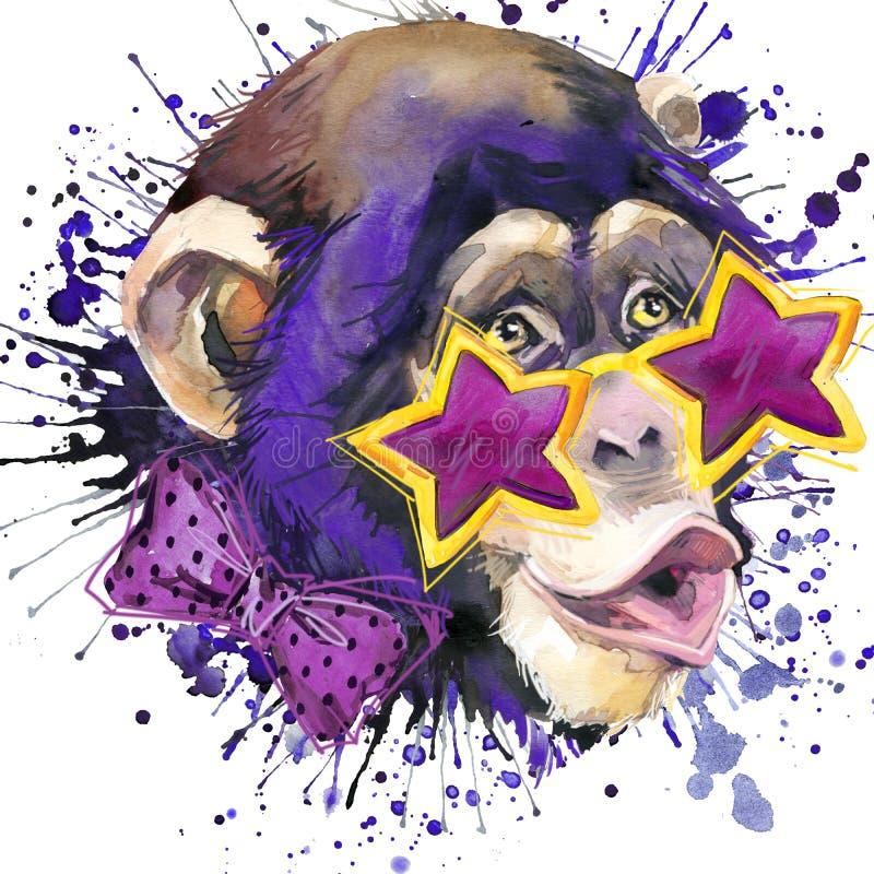 Monkey los gráficos de la camiseta del chimpancé, ejemplo del chimpancé del mono con el fondo texturizado acuarela del chapoteo a stock de ilustración