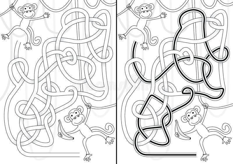 Monkey maze royalty free illustration