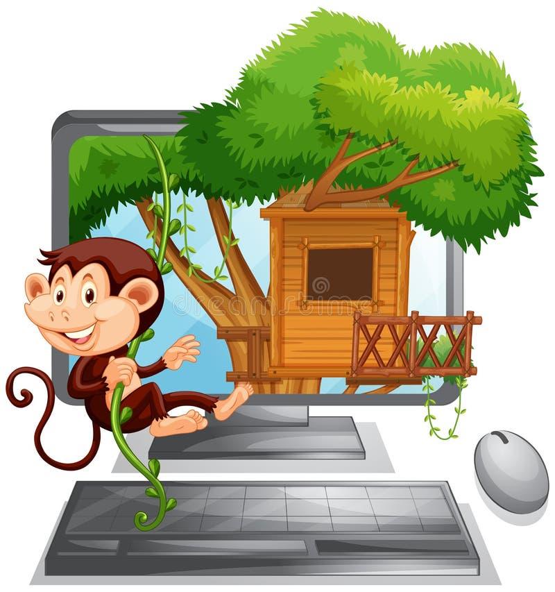 Monkey monter la cabane dans un arbre sur l'écran d'ordinateur illustration libre de droits
