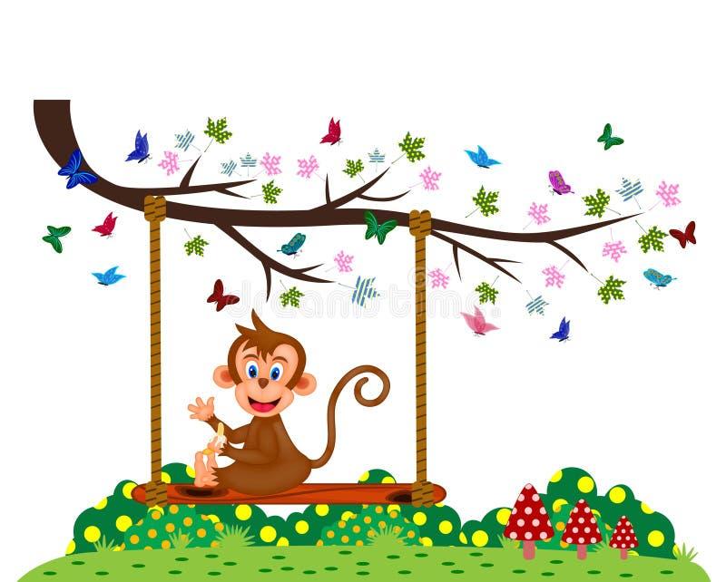 Monkey o assento em um balanço e coma a banana no parque ilustração stock