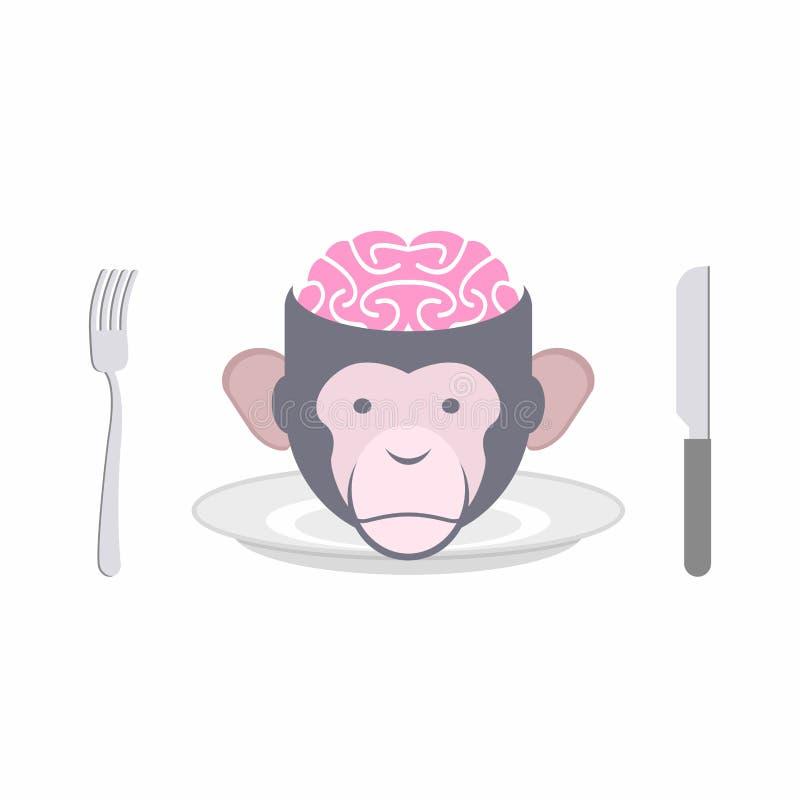 Monkey o prato proibido cérebros do chinês oriental das culinárias, Indo ilustração stock