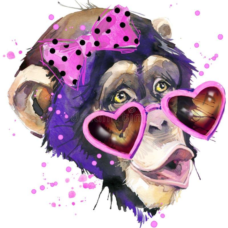 Monkey os gráficos do t-shirt do chimpanzé, ilustração do chimpanzé do macaco com fundo textured aquarela do respingo água da ilu
